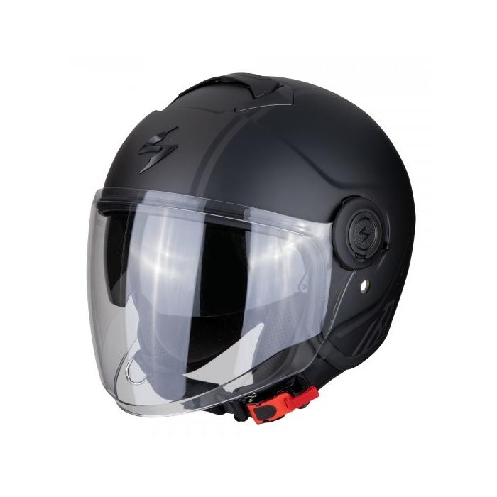 Otvorená prilba na motocykel Scorpion EXO-CITY Avenue čierno-strieborná