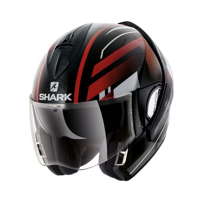 Preklápacia prilba SHARK EVOLINE 3 Corvus čierno-bielo-červená