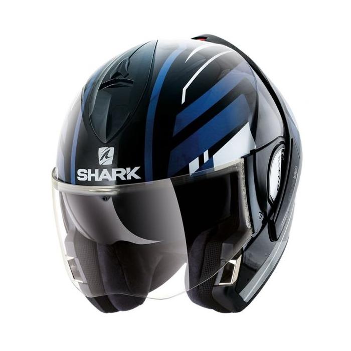 Preklápacia prilba SHARK EVOLINE 3 Corvus čierno-bielo-modrá