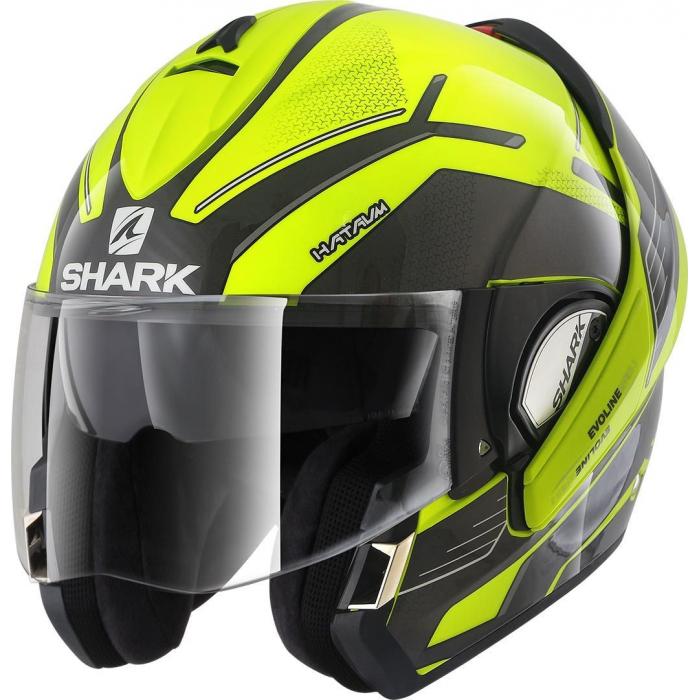 Preklápacia prilba SHARK EVOLINE 3 Hataum čierno-fluorescenčno žltá výpredaj