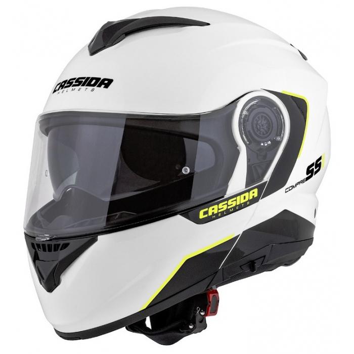 Odklápacia prilba na motocykel Cassida Compress 2.0 Refraction bielo-čierno-fluorescenčno žltá