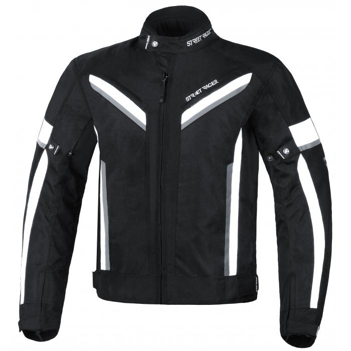Skrátená bunda na motocykel Street Racer Viper čierno-biela